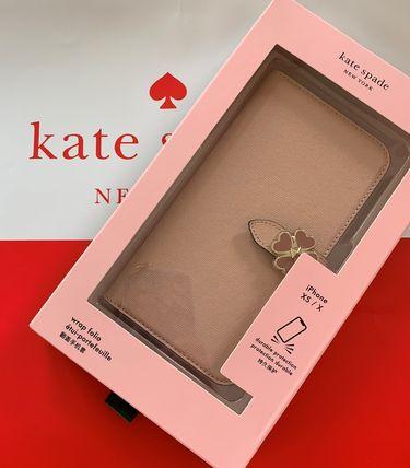 ケイトスペード Kate spade 手帳型 アイフォンケース フラワーの留め金  flower hardware wrap folio iPhone X/Xs case レザー ピンクベージュ 代引き不可【あす楽対応】