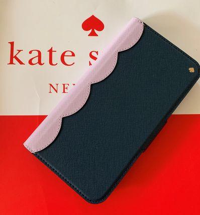 ケイトスペード Kate spade 手帳型 アイフォンケース スカラップ カラーブロック ラップ フォリオ iPhone Xs Max ラベンダー×ネイビー 代引き不可