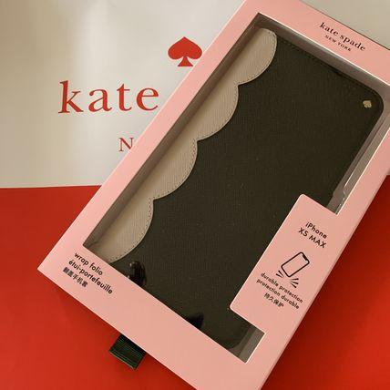 ケイトスペード Kate spade 手帳型 アイフォンケース スカラップ カラーブロック ラップ フォリオ iPhone Xs Max ブラック×ベージュ 代引き不可【あす楽対応】