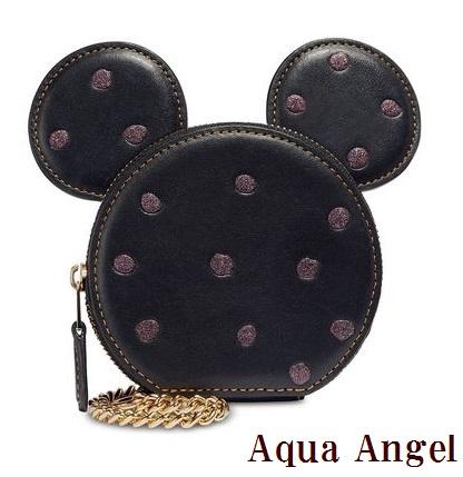 コーチ COACH レディース財布 COACH×DISENY Boxed Minnie Mouse Coin Case ミニーマウス キラキラドッドコインケース ギフトbox付き 黒 限定品 SALE