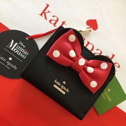 ケイトスペード レディース財布 kate spadex ミニーマウス コラボ リボンが可愛い レザー 黒 ブラック 限定品【あす楽対応】
