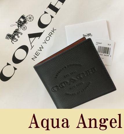 コーチ メンズ財布 COACH レザー 二つ折り ロゴ入り ブラック 黒【あす楽対応】