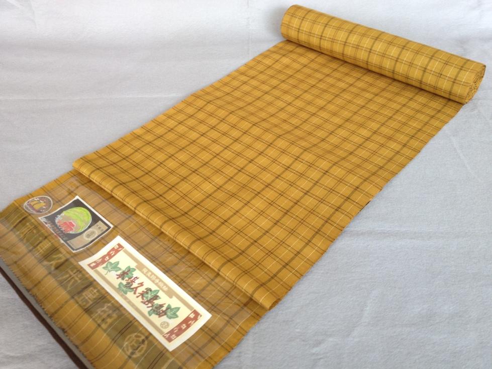 着物 着尺本場久米島紬正絹紬・格子・手織り/おしゃれきもの送料無料