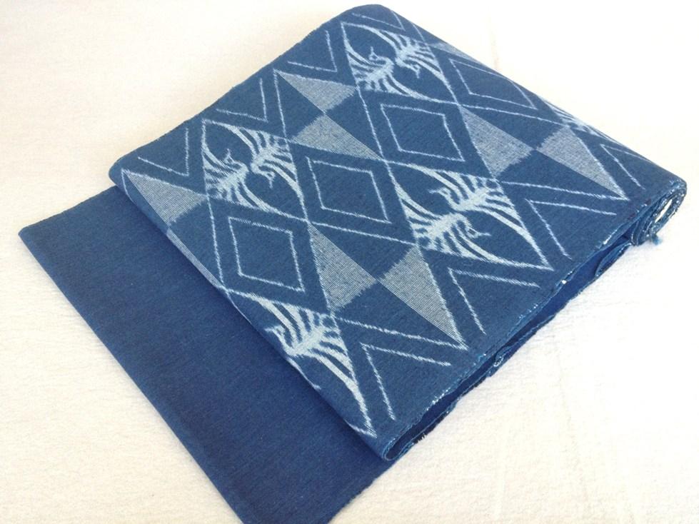 なごや帯 弓浜絣手織り・全通綿紬/おしゃれ九寸帯送料無料