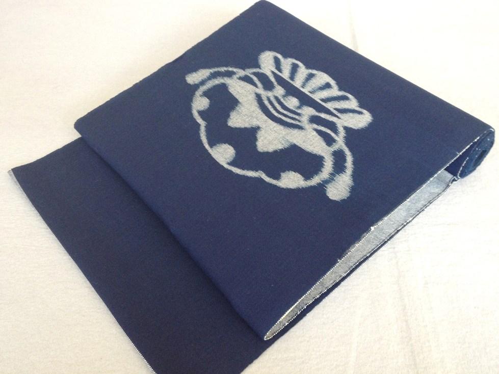 九寸なごや帯 広瀬絣手織り・正藍・六通綿紬/おしゃれ帯送料無料