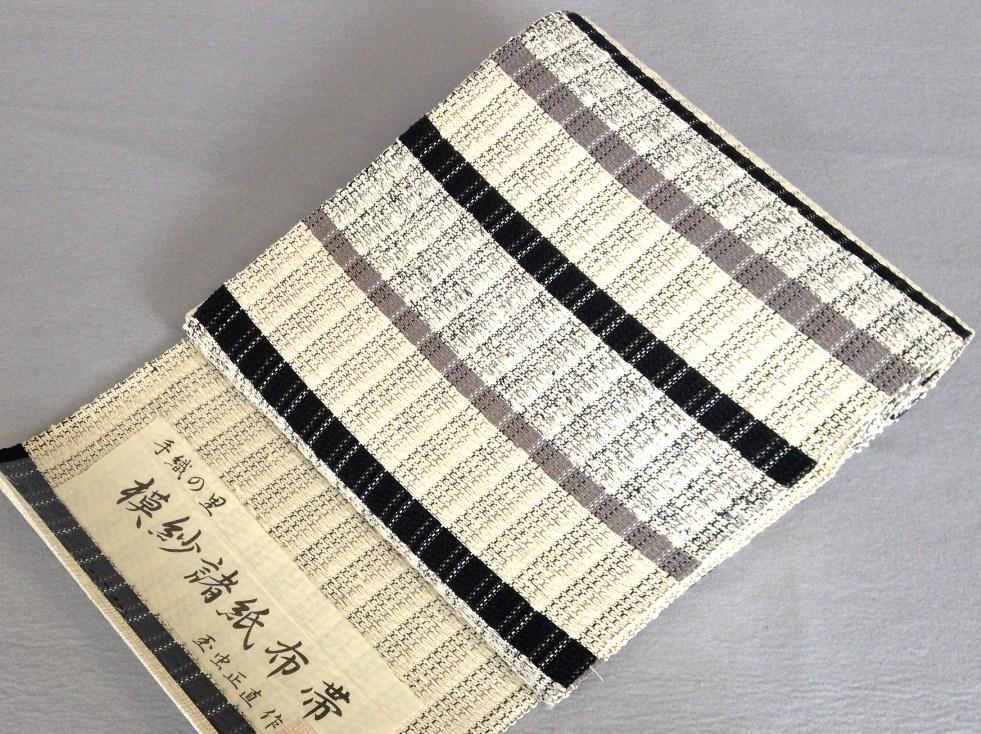 八寸名古屋帯 摸紗諸紙布和紙・横段・手織り・全通/おしゃれおび玉虫正直 作送料無料