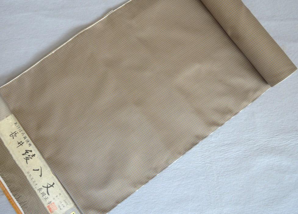 着物 着尺長井綾格子伝統工芸士 長岡 正幸 作あけぼの繭正絹紬・手織り/おしゃれきもの送料無料