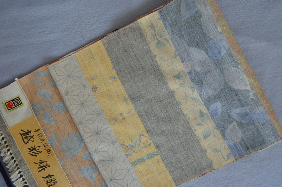 着物 着尺小千谷紬越彩絣綴・手挽真綿織正絹紬・多彩横段/おしゃれきもの送料無料