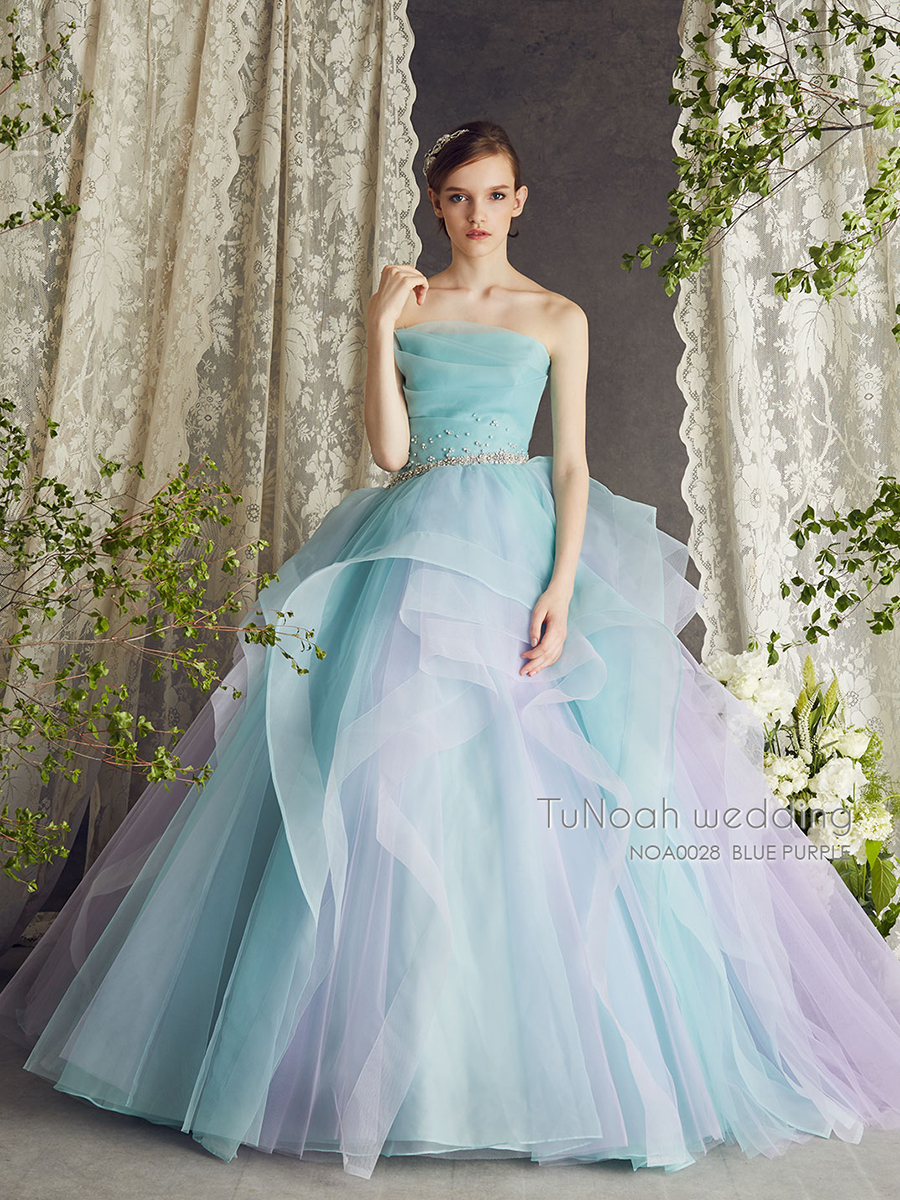 NOA028 ブルーパープル【着用パニエ】NOA0003 海外挙式、二次会、結婚式、カラ―ドレス、オーダードレス、サイズオーダー