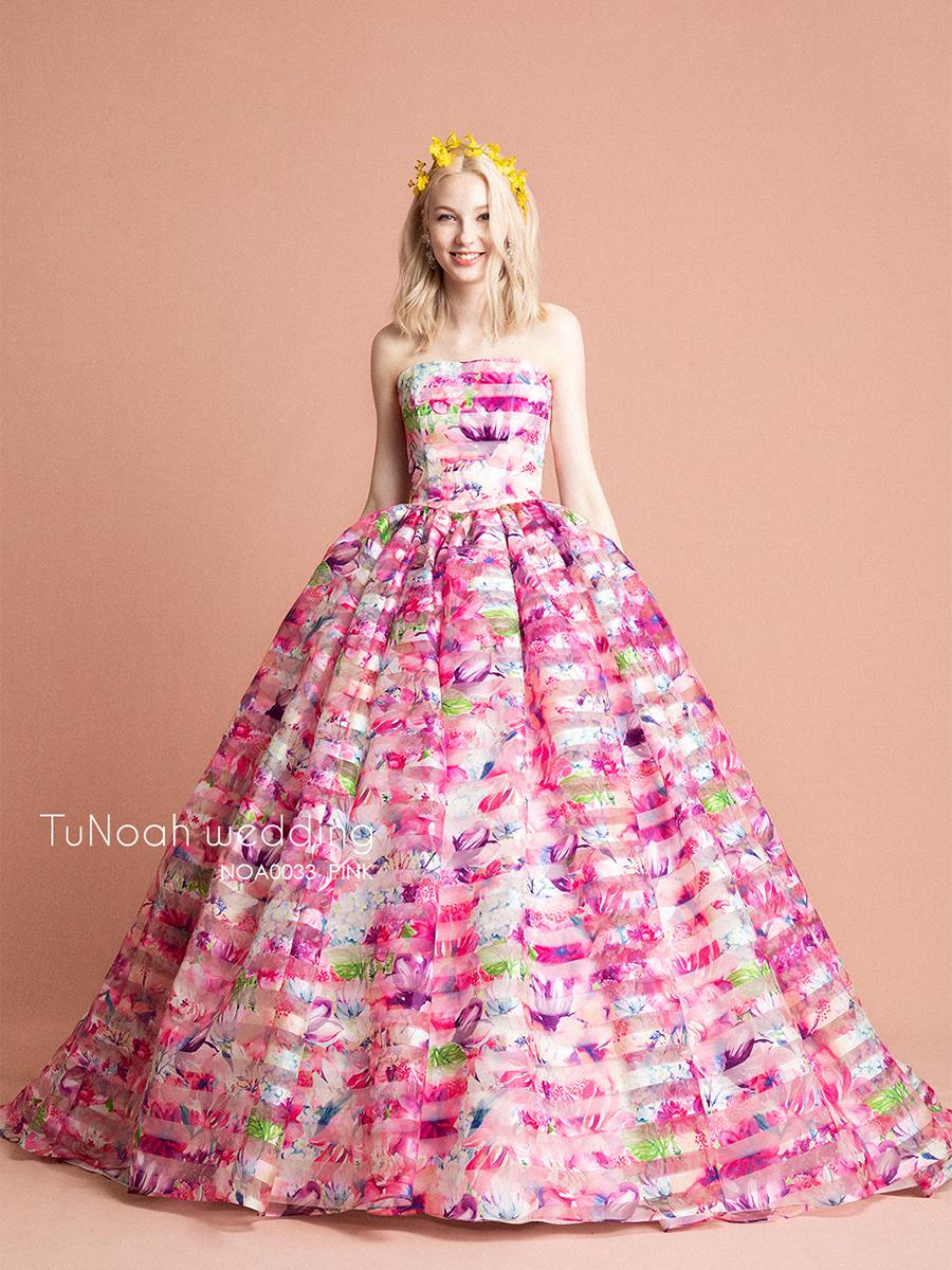 NOA0033 ピンク【着用パニエ】NOA0003 海外挙式、二次会、結婚式、カラ―ドレス、オーダードレス、サイズオーダー