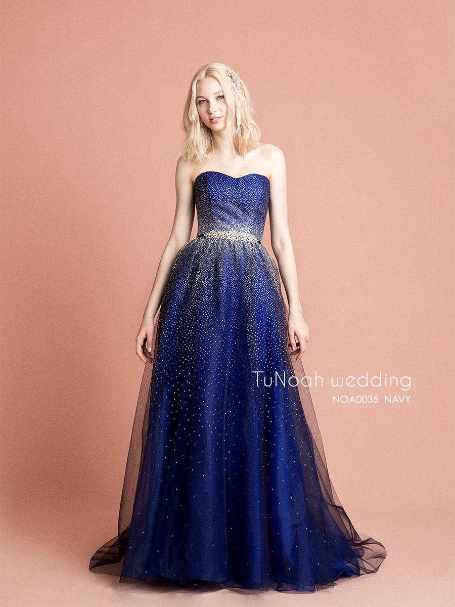 NOA035 ネイビー【着用パニエ】NOA0003 海外挙式、二次会、結婚式、カラ―ドレス、オーダードレス、サイズオーダー