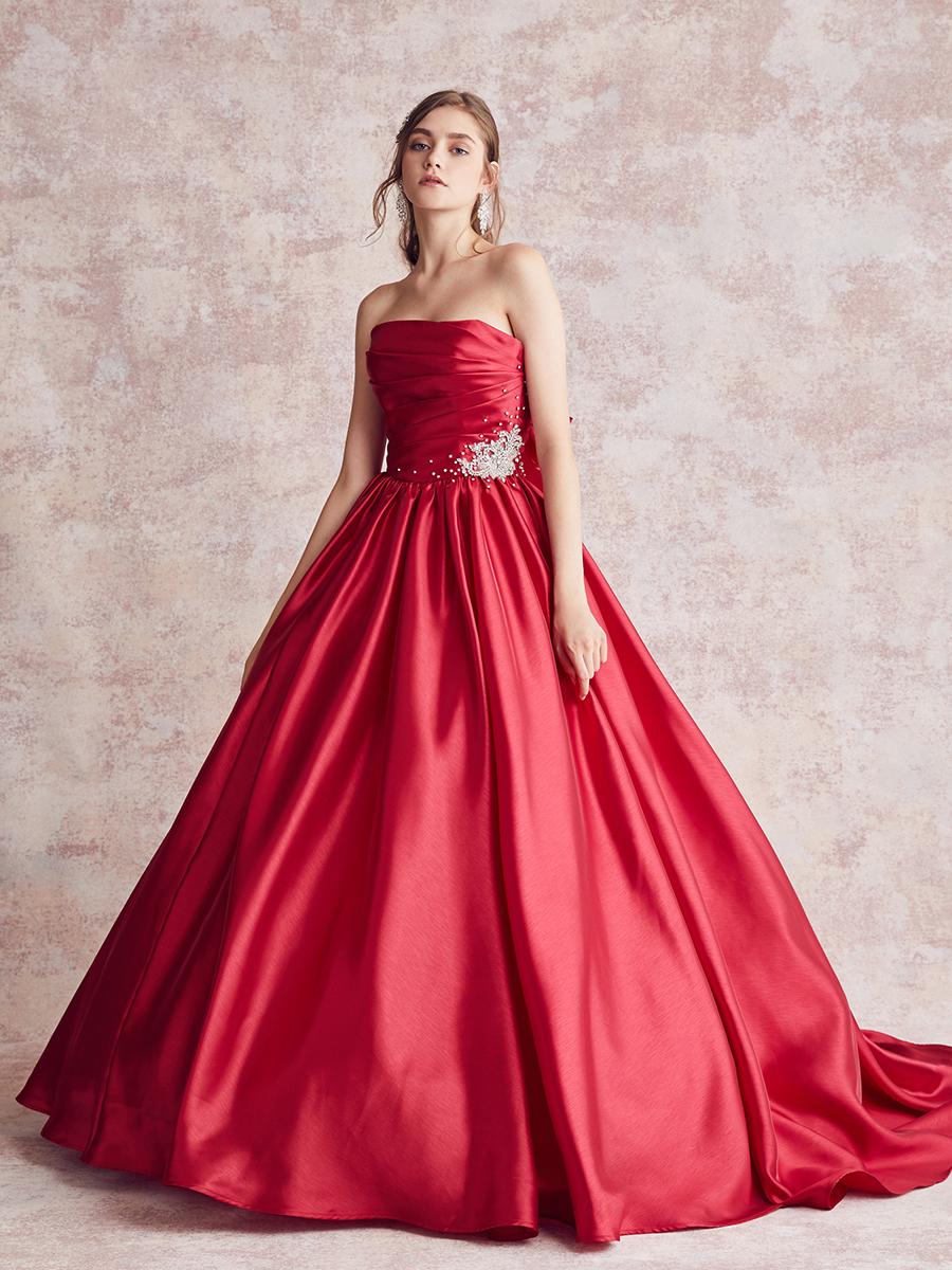 NOA0041_red 【着用パニエ】NOA0003 カラ―ドレス、オーダードレス、サイズオーダー 海外挙式、二次会、結婚式