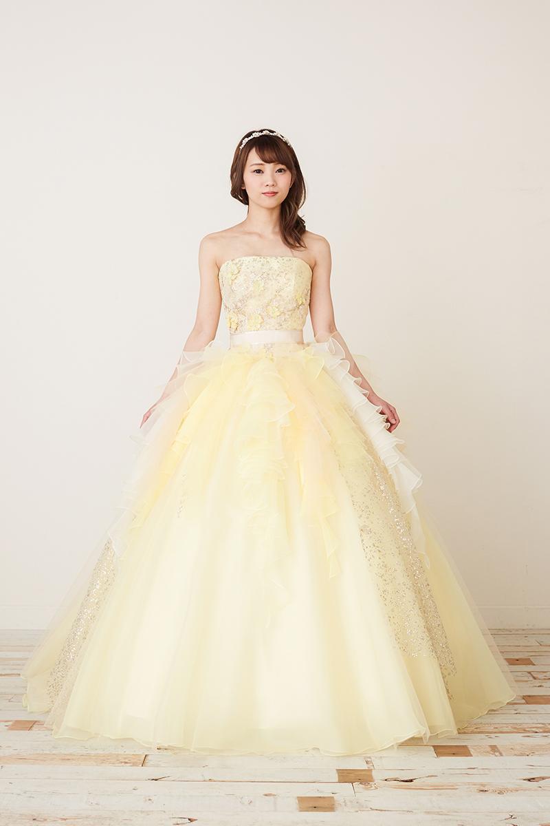 NOA0017_イエロー カラ―ドレス、オーダードレス、サイズオーダー 海外挙式、二次会、結婚式