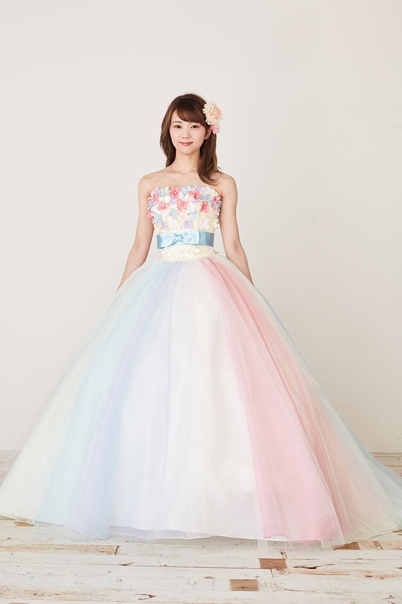NOA0022_マルチカラー カラ―ドレス、オーダードレス、サイズオーダー 海外挙式、二次会、結婚式