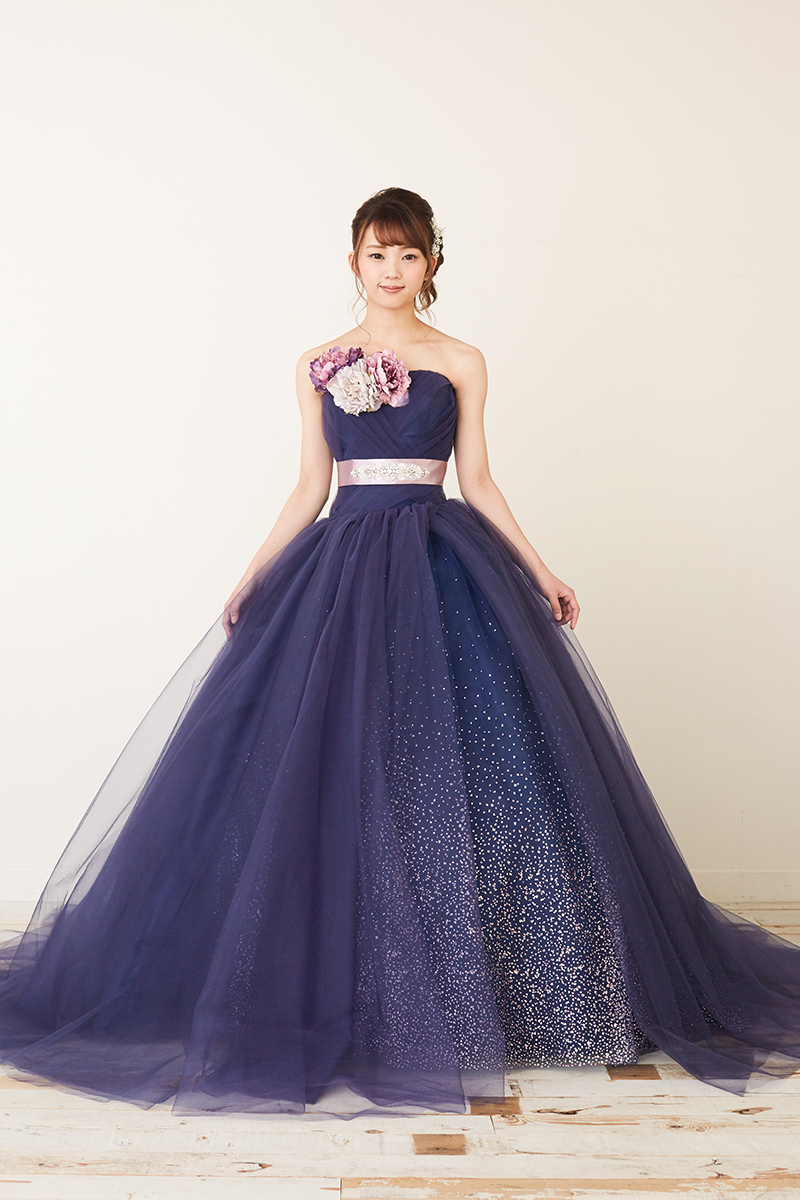 NOA0019_ネイビー カラ―ドレス、オーダードレス、サイズオーダー 海外挙式、二次会、結婚式