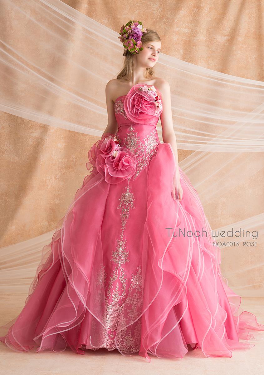 NOA0016_ローズ【着用パニエ】NOA0003 カラ―ドレス、オーダードレス、サイズオーダー 海外挙式、二次会、結婚式
