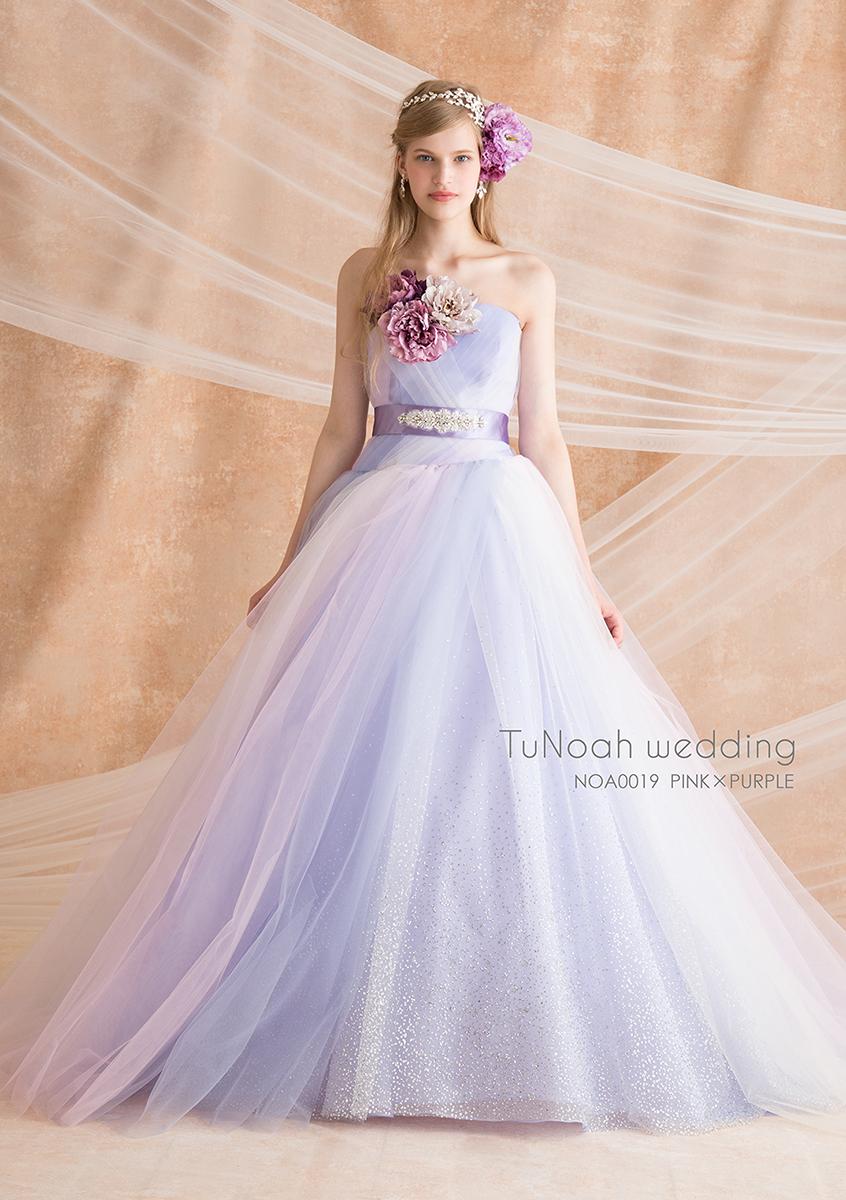 NOA0019 ピンク×パープル【着用パニエ】NOA0002 海外挙式、二次会、結婚式、カラ―ドレス、オーダードレス、サイズオーダー