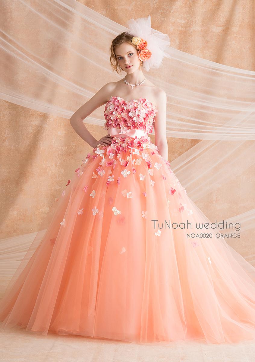 NOA0020_オレンジ【着用パニエ】NOA0002 カラ―ドレス、オーダードレス、サイズオーダー 海外挙式、二次会、結婚式