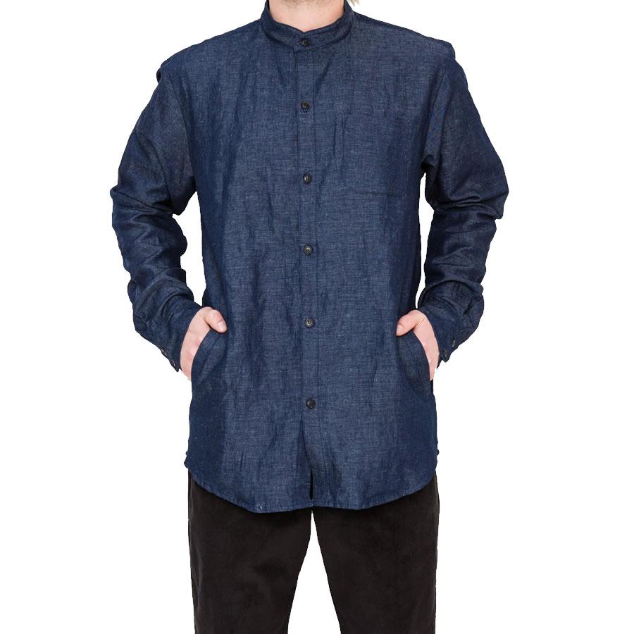 PORT LBC (ポート) 長袖 ノーカラーシャツ / NORDEN POCKET BUTTON UP - INDIGO / MADE IN USA 【t22】