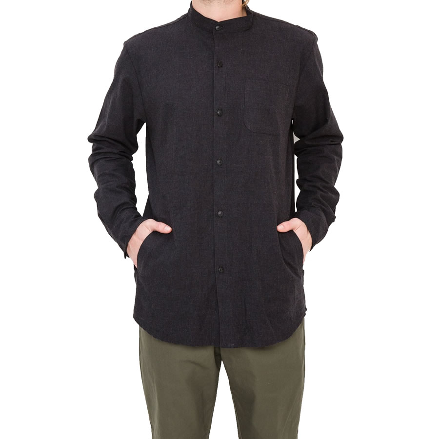 PORT LBC (ポート) 長袖 ノーカラーシャツ / NORDEN POCKET BUTTON UP - DEEP GREY / MADE IN USA 【t79】