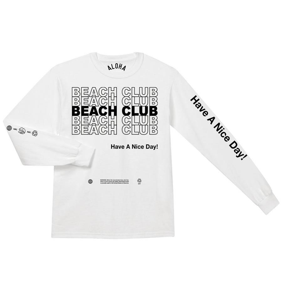 [正規品 無料ラッピング可] ALOHA BEACH CLUB (アロハビーチクラブ) / 長袖Tシャツ ロンTEE / THANK YOU LS - WHITE / MADE IN U.S.A. / メンズ ホワイト 白 ALOHA BEACH CLUBのTシャツ 【t54】
