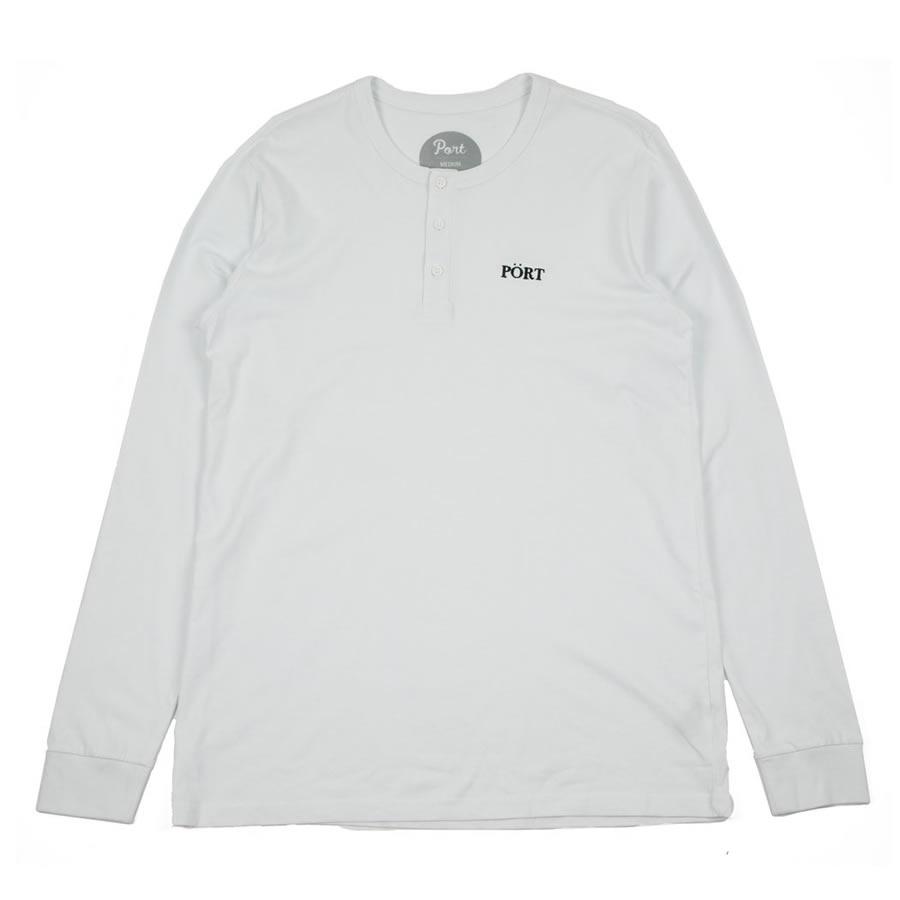PORT LBC (ポート) / 長袖 Tシャツ ヘンリーネックロンTEE / CONTEMPORARY HENLY LS TEE - WHITE / メンズ PORTのTシャツ 【t74】