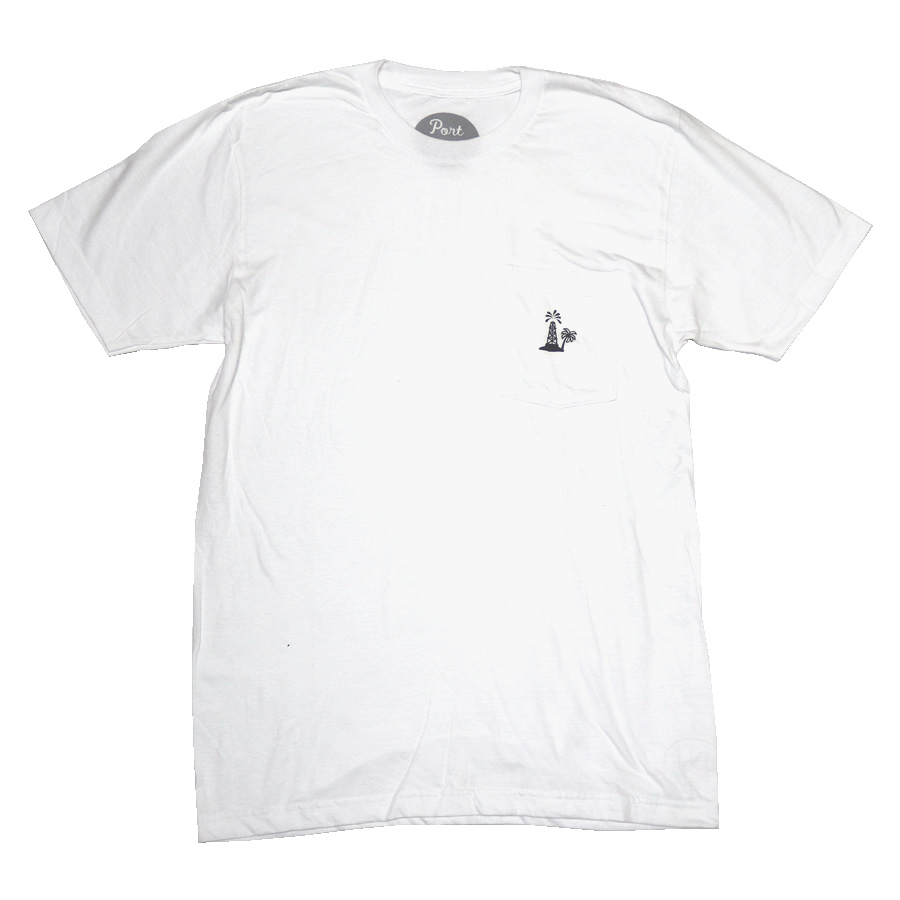 PORT LBC (ポート) / 半袖 Tシャツ / OIL PALM POCKET TEE - WHITE / メンズ  PORTのTシャツ 【t74】
