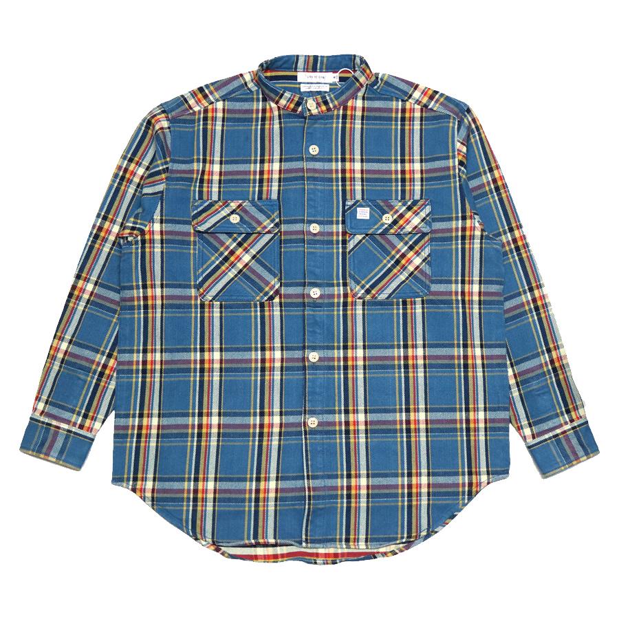 TURN ME ON ターンミーオン MADE IN JAPAN ネルシャツ 格安 320-097 期間限定の激安セール メンズ バンドカラーチェックシャツ - 長袖 BLUE t79