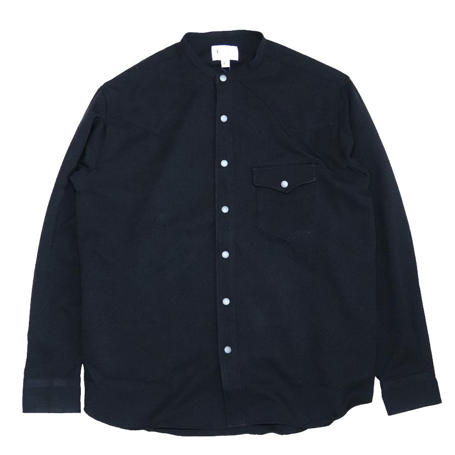 MELLOW PEOPLEの長袖シャツ PEOPLE メローピープル バンドカラー ネルシャツ WESTERN TRIPPER メンズ - 記念日 SH-10 t79 送料無料 お洒落 BLACK SHIRTS ノーカラー
