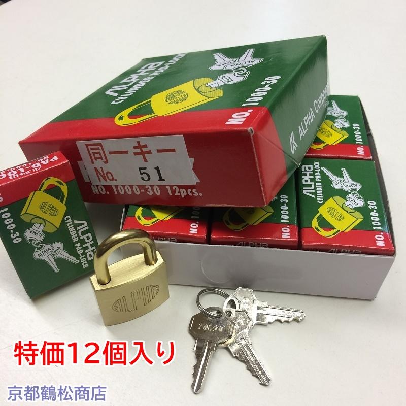 特価12個入り アルファ 南京錠【1000-30 同一キー 20E51(No51) キー3本付】×12