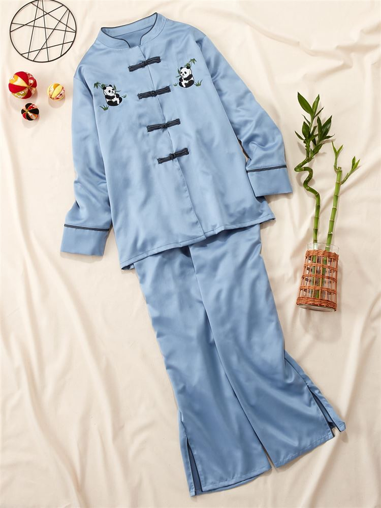 大人気 チャイナ風サテンパジャマの長袖タイプ 最大10%OFFクーポン配布中 レディース 日本正規品 ルームウェア パジャマ チャイナ風パンダ刺繍サテンパジャマ 販売 tutuanna 18NEW チュチュアンナ #8