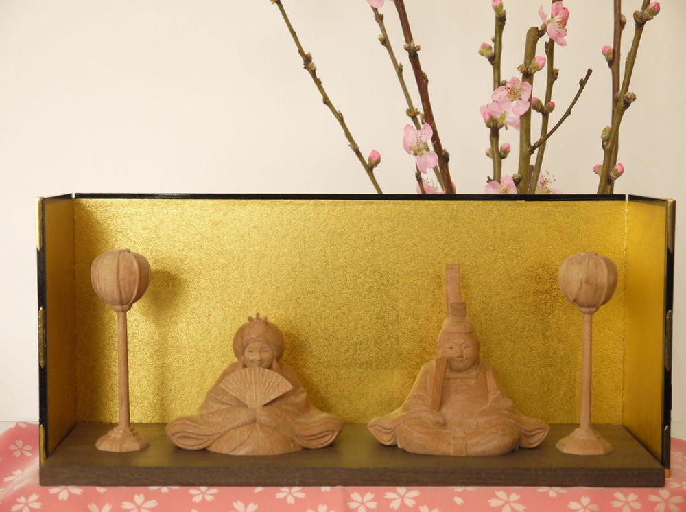 木彫り~お雛様~一刀彫/材料:桜