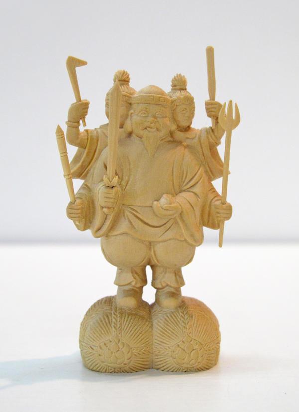 ~木彫り 仏像 三面大黒天~仕様:無垢 / 素材:柘植