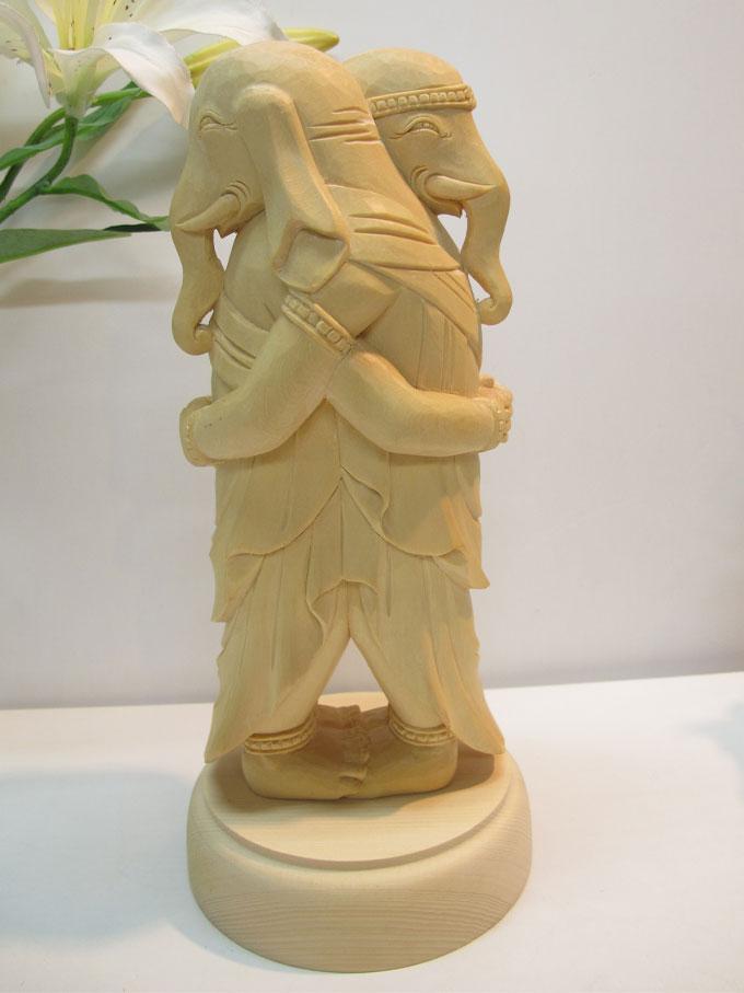 ~木彫り 仏像 歓喜天~一刀彫 / 素材:桧