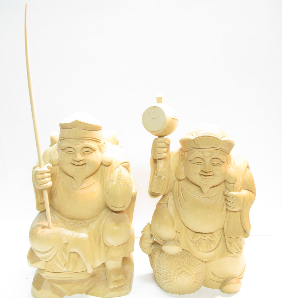 ~木彫り 恵比寿大黒~一刀彫 / 材料:桧(置物)