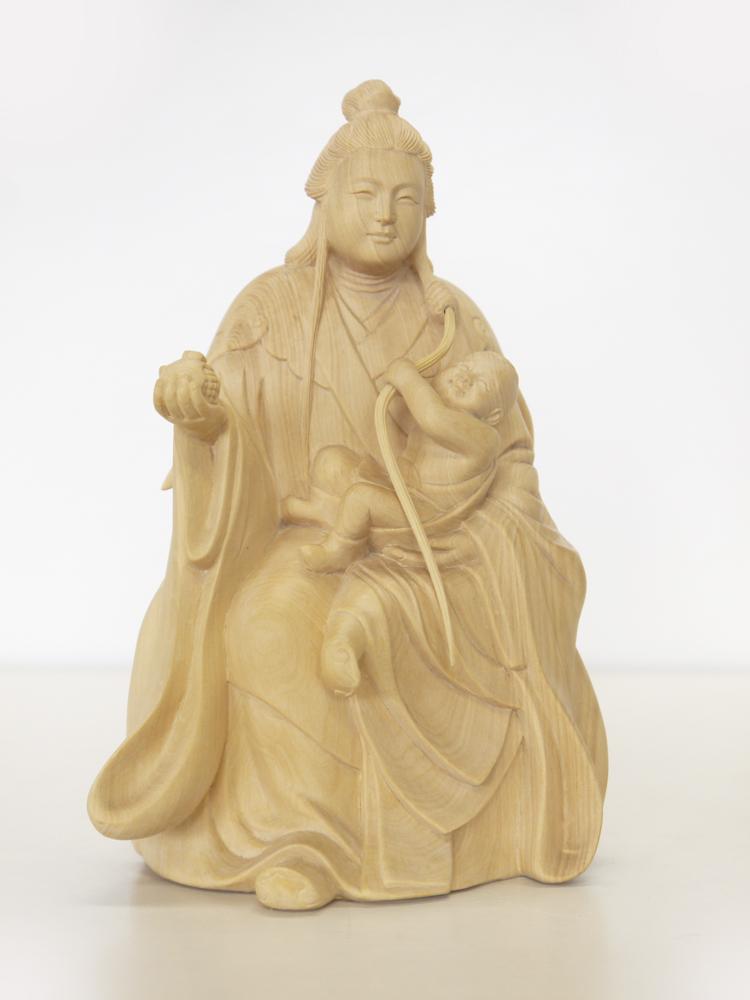 ~木彫り 仏像 鬼子母神~一刀彫 / 素材:柘植