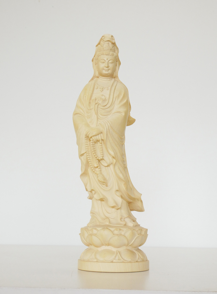 ~木彫り 仏像 聖観音~仕様:無垢 / 素材:水柘植