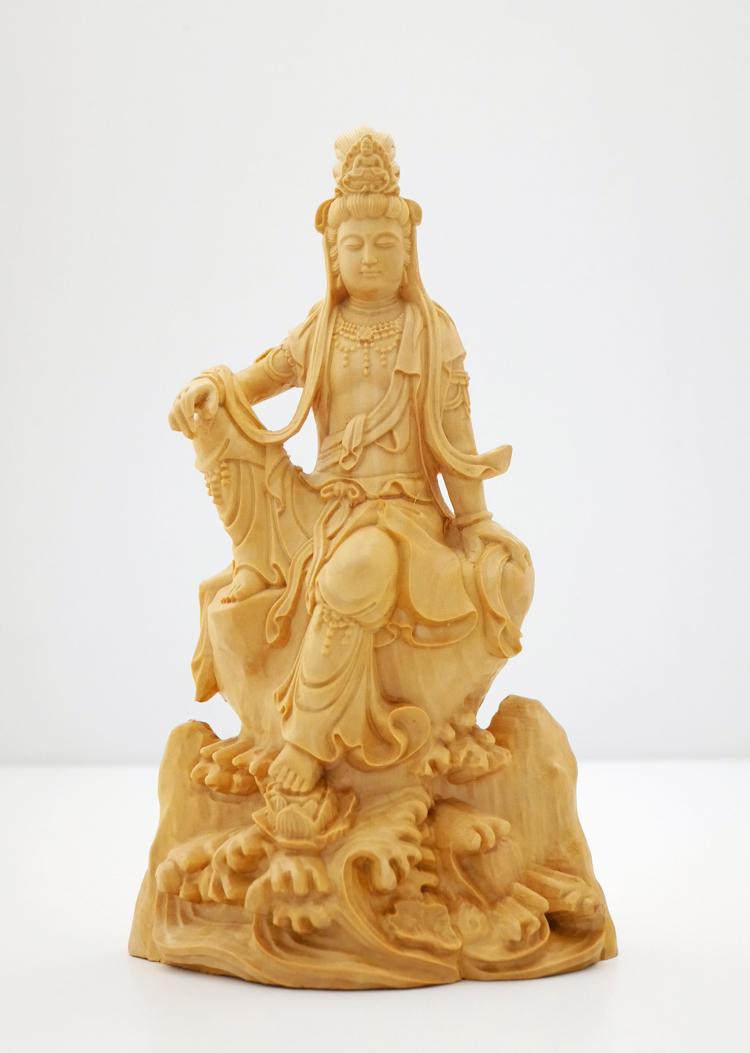 ~木彫り 仏像 観音菩薩~一刀彫 / 素材:柘植