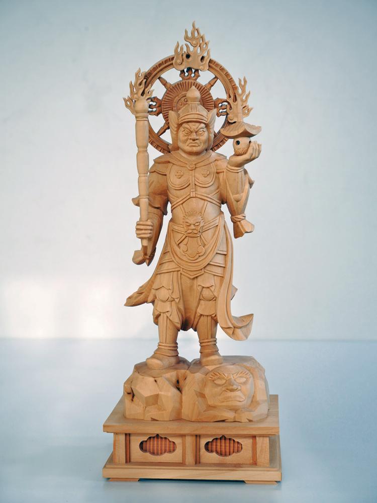 ~木彫り 仏像 毘沙門天~一刀彫 / 素材:柘植
