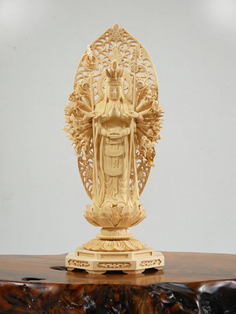 ~木彫り 仏像 千手観音~仕様:無垢 / 素材:柘植(置物)