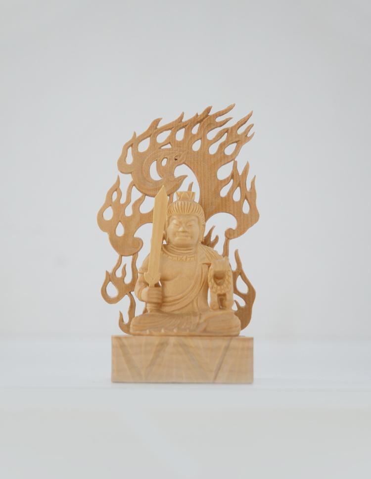 ~木彫り 仏像 不動明王~仕様:無垢 / 素材:柘植(置物)