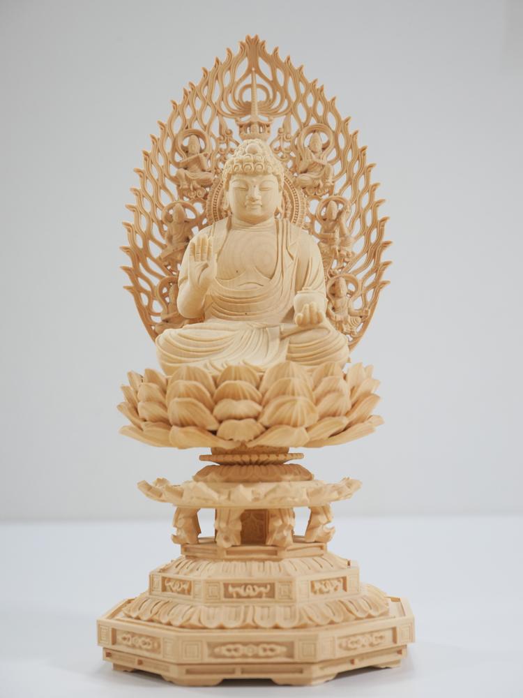 ~木彫り 仏像 薬師如来~仕様:無垢 / 素材:柘植(置物)