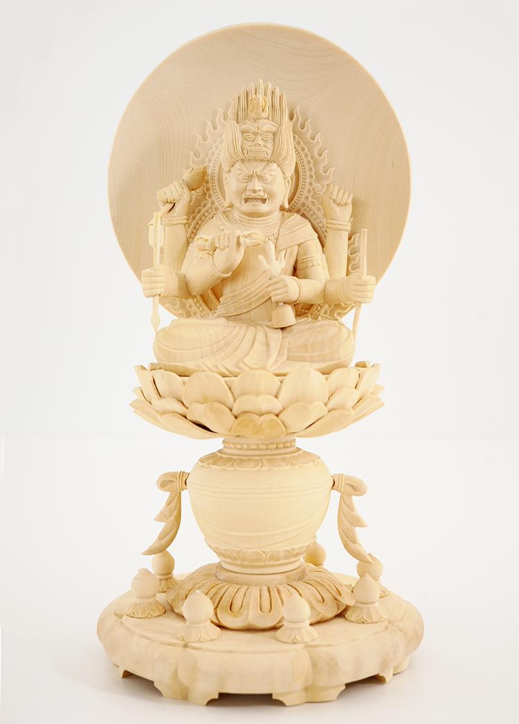 ~木彫り 仏像 愛染明王~仕様:無垢 / 素材:柘植