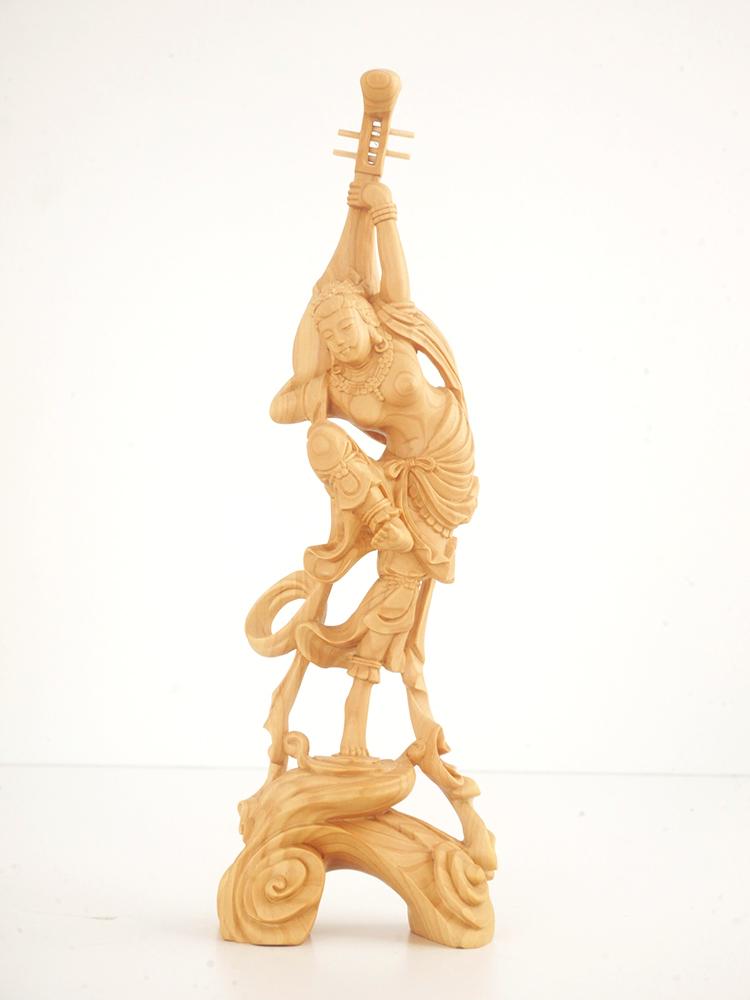 ~木彫り 仏像 飛天女~仕様:無垢 / 素材:柘植