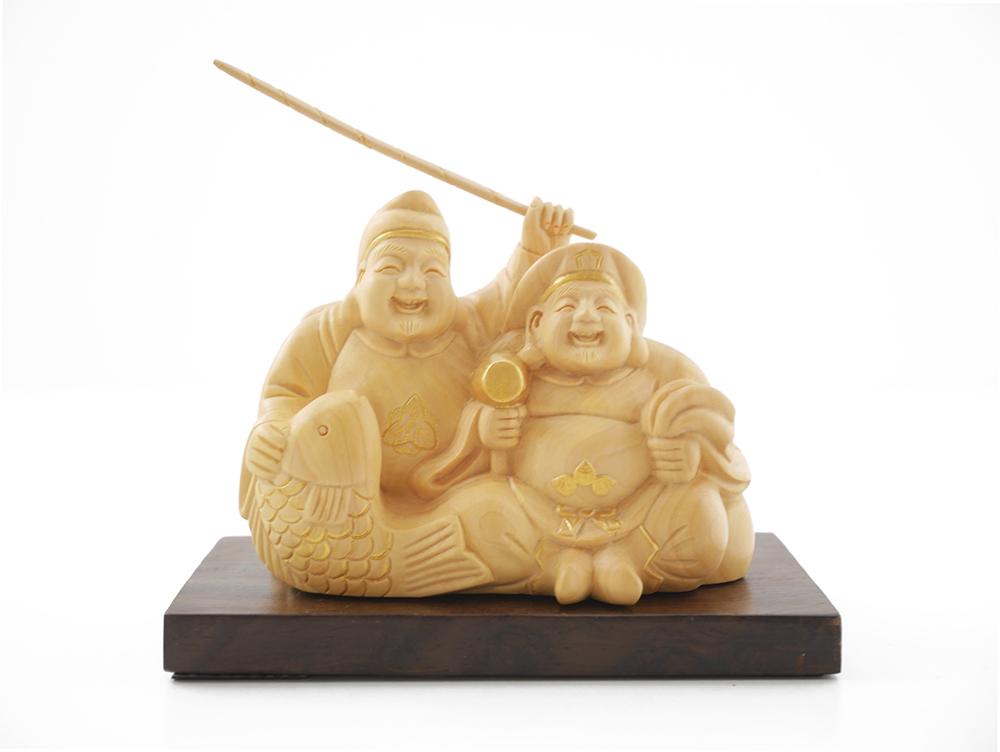 セール商品 縁起物 笑顔と大きな福を運ぶ 小さくて可愛い神様 ~木彫り 置物 恵比寿大黒~一刀彫 訳あり品送料無料 素材:柘植