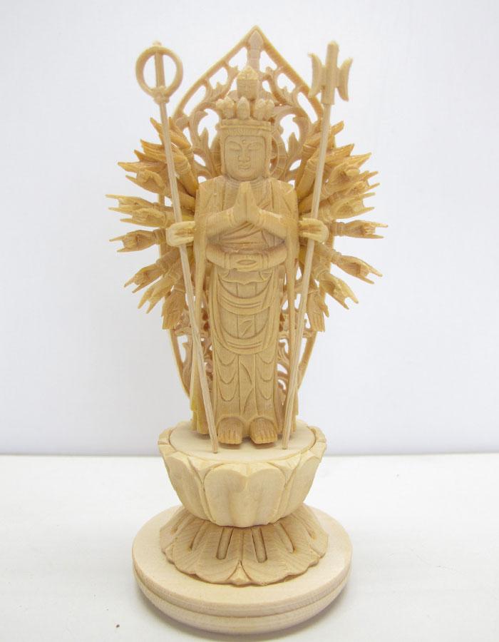 ~木彫り 仏像 千手観音 ~仕様:無垢 / 素材:桧(置物)