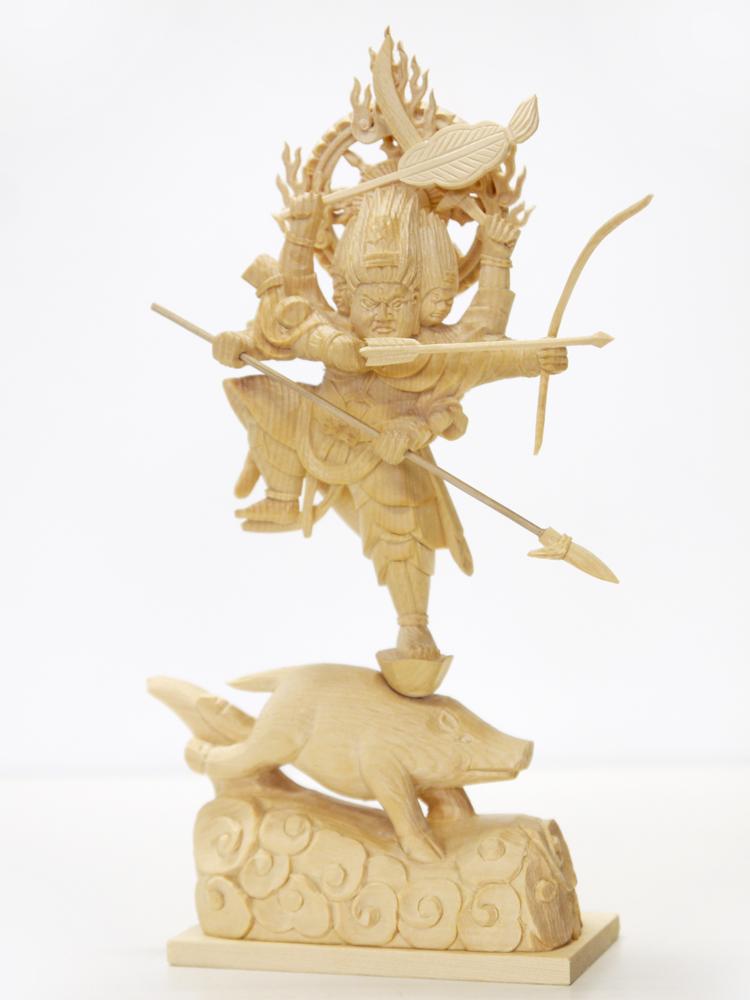 ~木彫り 仏像 摩利支天~仕様:無垢 / 素材:桧