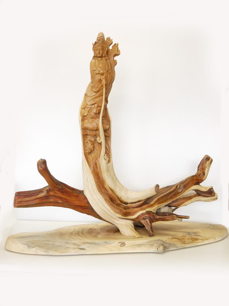 ~木彫り 仏像 観音菩薩~一刀彫 / 素材:崖柏(ヤーバイ)