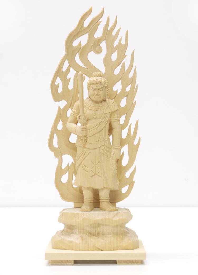~木彫り 仏像 不動明王~仕様:無垢 / 素材:ひのき
