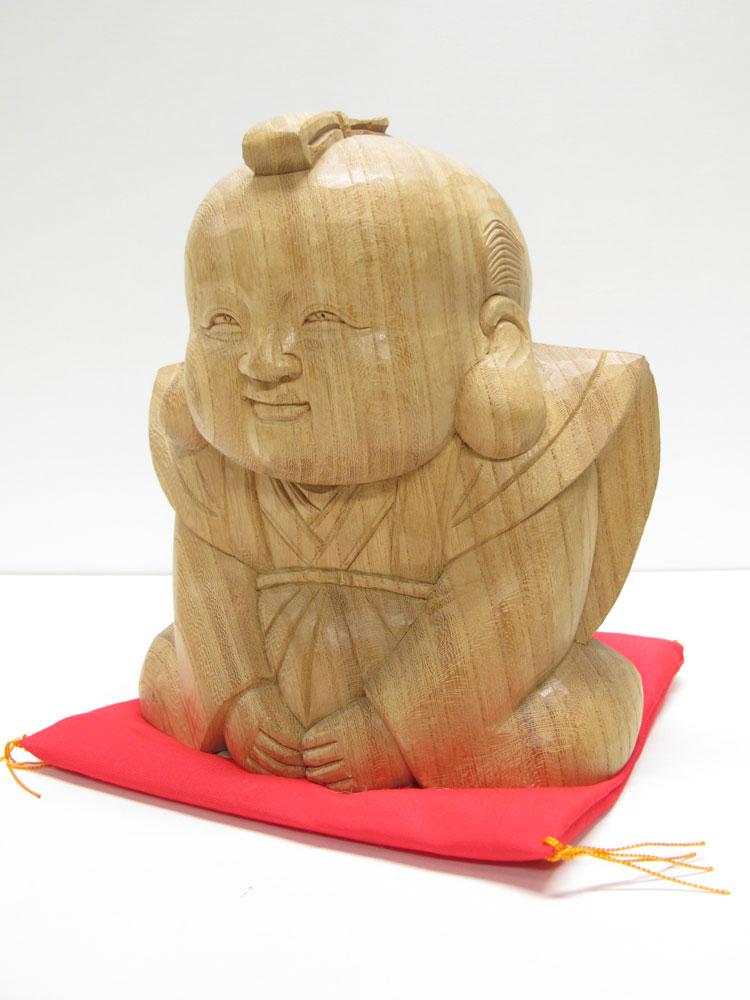~木彫り 福助さん~仕様:無垢 / 素材:欅